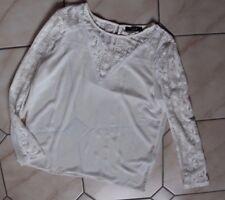 chice raffinierte beige Bluse Lochmuster Vila Clothes Gr. L Spitze am Ärmel