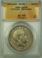 1899 Portugal 1000 Reis Silver Coin ANACS AU-55 Details RJS