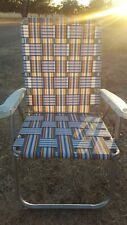 VTG Multicolor Aluminum Folding Lawn Chair Webbing Patio Camping Retro 90s