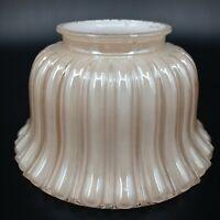 "Vintage Light Shade Ribbed Cased White Glass Lamp Pillowed 3 3/4"" Fitter RARE"
