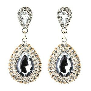 Womens Sparkling Long Drop Diamante Rhinestone Gold Tone Earrings Fashion Dangle