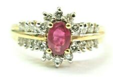 Oval Ruby & Diamond Yellow Gold Ring Solid 14Kt .54Ct 44Ct SIZEABLE H-I / VS2