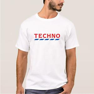 Men's White TECHNO TESCO T-Shirt Rave Dance Logo Funny Festival Session Top Joke