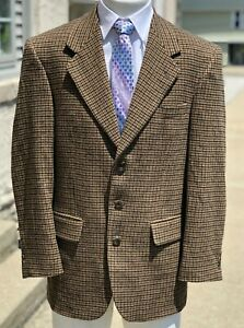 Vintage Hardy Amies Savile Row Camel Hair Blend Houndstooth Jacket Blazer 40R