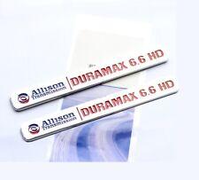 2x OEM ALLISON DURAMAX 6.6 HD VORTEC Hood EMBLEMS BADGES GM 2500HD 3500HD Red YU