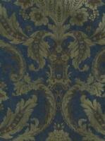 Wallpaper Designer Metallic Gold Ink Floral Damask on Navy Blue Background