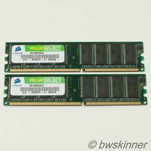 2x 1GB DDR-PC3200 Corsair Value Select RAM Modules. VS1GB400C3. 2GB.