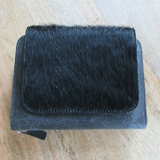 JOST - Designer Zipped Purse/Wallet - Fur & Black Leather.