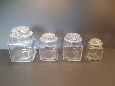 Vintage FOUR Clear Glass Apothecary Jars with Lids - 3 Sizes- Small Medium Large