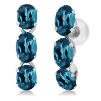 3.00 Ct Oval London Blue Topaz 14K White Gold Earrings