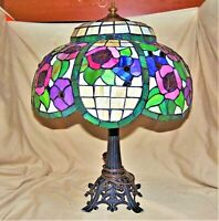 "Vintage 1930s Loevsky Leaded Slag Glass Table Lamp Floral Arts & Crafts 21"" Tall"