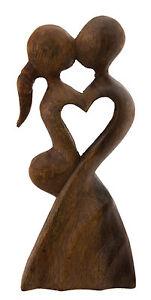 Statua Astratto Coppia di Amanti Legno 20 CM Tango Bacio Sexy 4048 P1