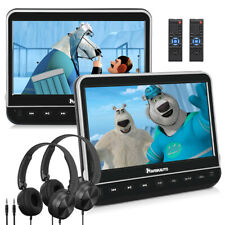 "NAVISKAUTO 10.1"" HD Dual Screen Car Portable DVD Player AV-IN USB SD+ Headsets"