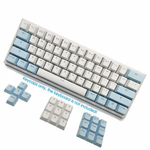 White Blue Translucent PBT Double Shot Keycaps 104 OEM For ALT61 GH60 Poker Anne
