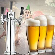 Triple Tap Stainless Steel Faucet Draft Beer Tower Bar For Kegerator Homebrew