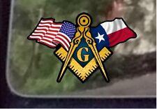 "ProSticker 078 (One) 3"" x 5"" American Texas Flags Masonic Decal Sticker USA"