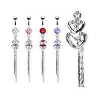 316L Surgical Stainless Steel Double Heart Gem Chain Belly Button Dangle Ring