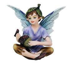 "Miniature Garden Boy Fairy w Acorn Harvest Figurine 3"" H Small Faery Collection"