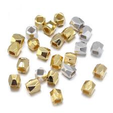 100pc Ramdam Brass Barrel Metal Beads Faceted Tiny Loose Spacers Beading 3mm DIA