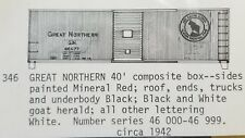 LMH C-D-S CDS 346 GREAT NORTHERN 40' Wood Sheathed Steel Boxcar GN Dry Transfer