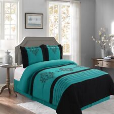 New Empire Home Teal Heba Damask 4-Piece Comforter Set Bed In A Bag Sale!