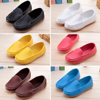 Kids Boys Girls Slip On Leather Flat Loafers Casual Soft Boat Shoes Dress Flats