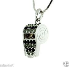 "Whistle W Swarovski Crystal Trainer Referee Cheerleader Black Necklace 18"" Chain"