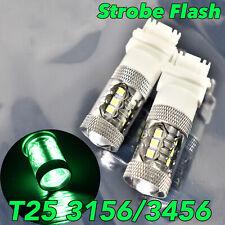 Strobe Reverse Backup Light T25 3156 3456 4156 80W LED Green Bulb Lamp W1 JA