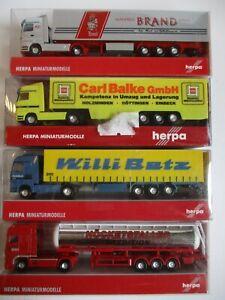 4x Herpa LKW Set 1, Brand, Balke, Betz, Höcketstaller, Spur N 1:160 Neuwertig