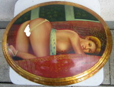 Erotik Ölbild Akt oval gewölbt sexy Blickfang in Öl auf Holz Handgemalt 47x37cm
