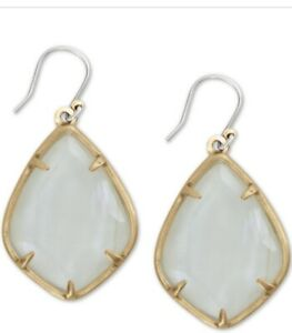 """$35 Lucky Brand gold  tone   white mother of pearl  1-2/3"""" drop earrings LC 1"""