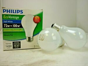 Philips EcoVantage (2), Soft White 72W=100W*, Dimmable Mercury Free, p/n 824099