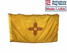 3x5' New Mexico Indoor Flag with Pole Hem & Gold Ornamental Fringe