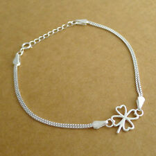 Genuine 925 Sterling Silver Irish Clover Shamrock with Double Box Chain Bracelet