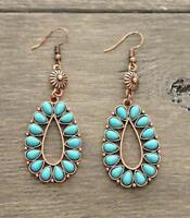 Western Cowgirl Gypsy Hobo Fashion Turquoise Drop Copper Tone Earrings