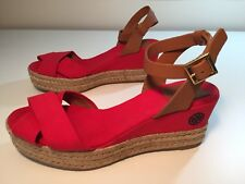 Tory Burch Karissa Canvas & Leather Espadrille In Red Size 9.5