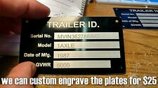 Blank Aluminum Trailer ID Data Plate Tag Identification VIN Plate Nameplate Med