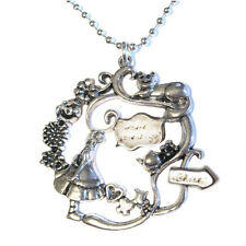 Lewis Caroll Alice in Wonderland Pendant Silver Plated Necklace w/ cheshire cat