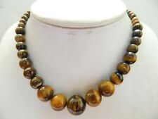"Natural Yellow 6-14mm African Roar Tiger's Eye Gems Necklaces 18"" JN165"