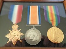 WW1 Medals Trio 1914 - 15 Star , British War & Victory Medal Britis  in a frame