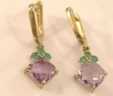 Amethyst & Emerald Drop Earrings  9ct yellow  gold rrp £585