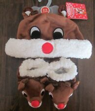 Nwt Rudolph Reindeer Infant Christmas Hat Bootie Slippers Set 0-6 mos Holiday