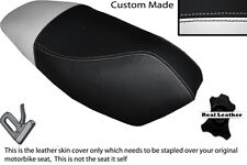 WHITE & BLACK CUSTOM FITS APRILIA RALLY 50 CC DUAL LEATHER SEAT COVER ONLY