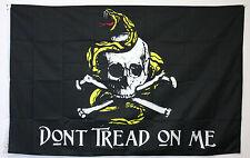 DON'T TREAD ON ME flag 3'x5' BLACK banner PIRATE GADSDEN SKULL SNAKE PATRIOT
