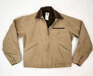 CARHARTT VTG Sandstone Cotton Duck Blanket Lined Detroit Jacket M J97SDL