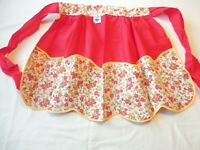 Apron Vintage 1960's Half Apron Red w/ Floral Print Pockets Cotton  New w/ Tag