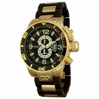 Invicta 4900 Men's Black Dial Gold Steel & Rubber Bracelet Watch