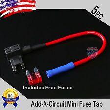5pcs 16 Gauge Copper Add-A-Circuit Mini APM ATM Blade Piggy Back Fuse + 1A - 40A