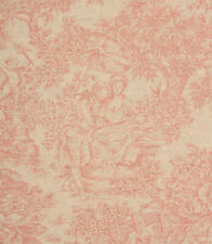 Vintage French Toile De Jouy Linen Fabric in Red | Curtains Upholstery Blinds