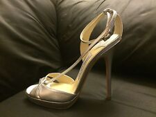 NEW Jimmy Choo Silver Leather Ankle Strap High Heel Sandals Size 37.5 / 7.5